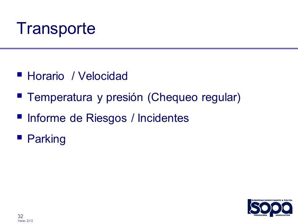 Marzo 2012 32 Transporte Horario / Velocidad Temperatura y presión (Chequeo regular) Informe de Riesgos / Incidentes Parking