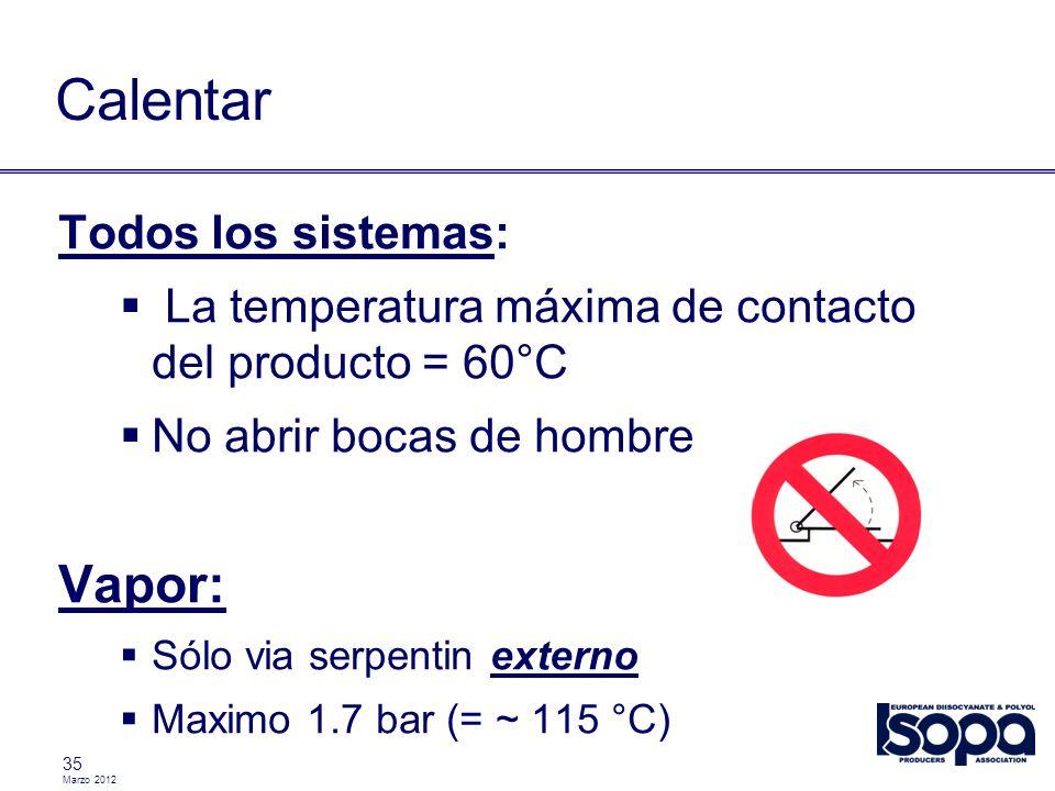 Marzo 2012 35 Calentar Todos los sistemas: La temperatura máxima de contacto del producto = 60°C No abrir bocas de hombre Vapor: Sólo via serpentin ex