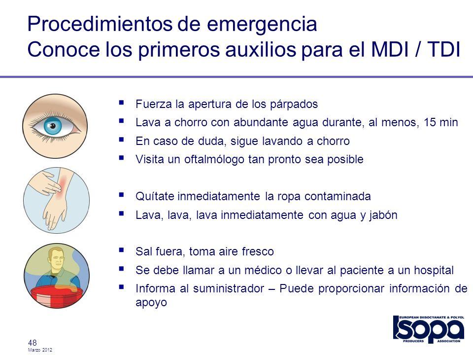 Marzo 2012 Procedimientos de emergencia Conoce los primeros auxilios para el MDI / TDI 48 Fuerza la apertura de los párpados Lava a chorro con abundan