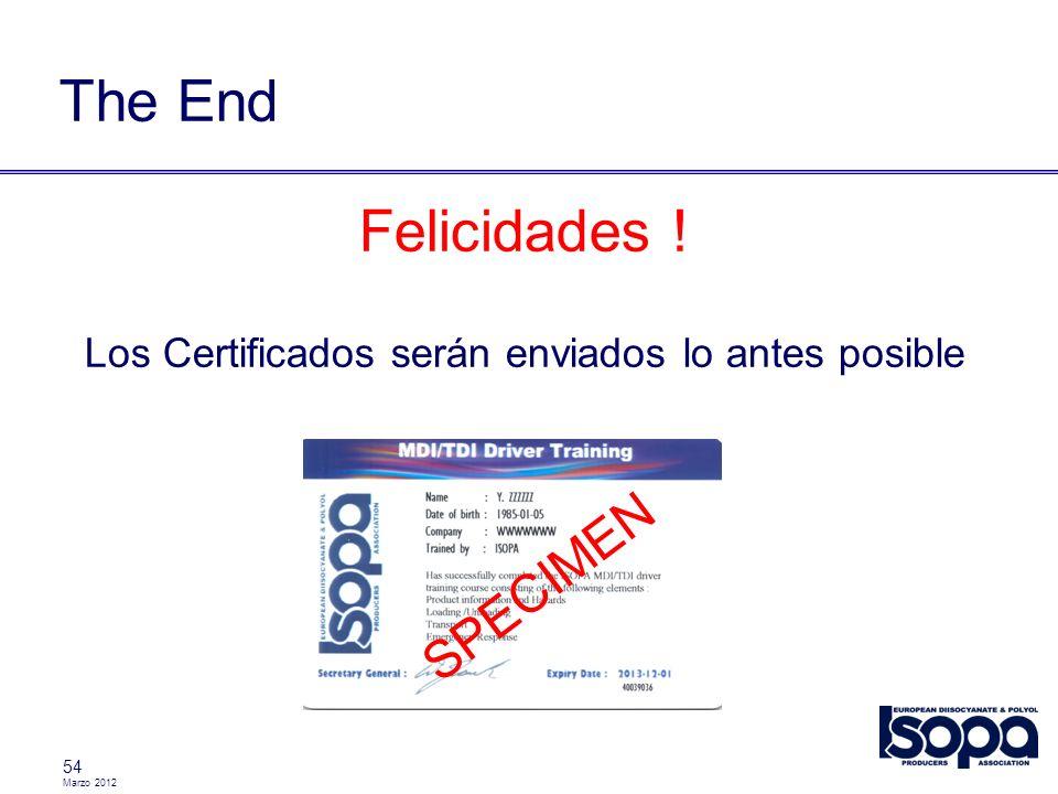 Marzo 2012 54 The End Felicidades ! Los Certificados serán enviados lo antes posible SPECIMEN