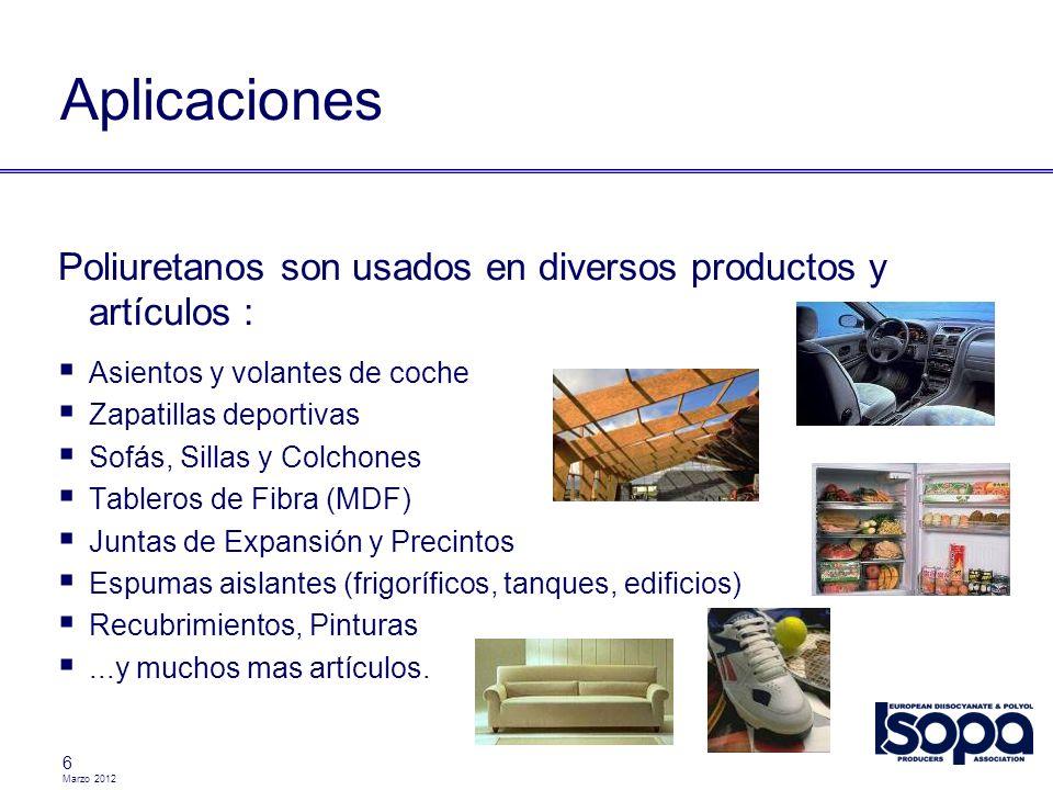 6 Aplicaciones Poliuretanos son usados en diversos productos y artículos : Asientos y volantes de coche Zapatillas deportivas Sofás, Sillas y Colchone