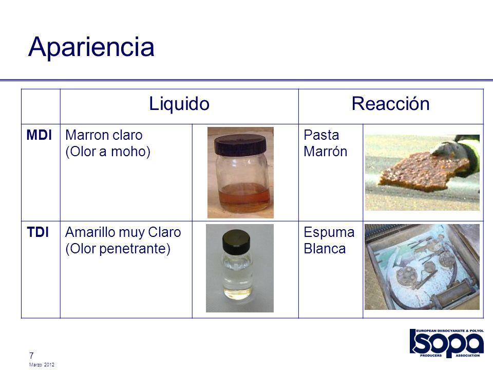 Marzo 2012 7 Apariencia LiquidoReacción MDIMarron claro (Olor a moho) Pasta Marrón TDIAmarillo muy Claro (Olor penetrante) Espuma Blanca