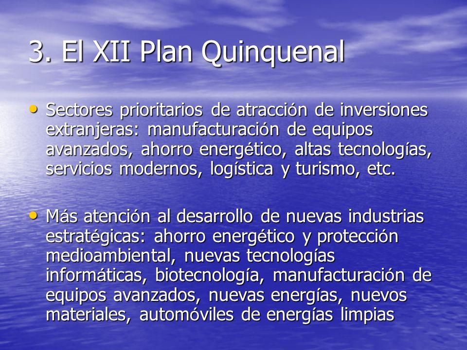 3. El XII Plan Quinquenal Sectores prioritarios de atracci ó n de inversiones extranjeras: manufacturaci ó n de equipos avanzados, ahorro energ é tico