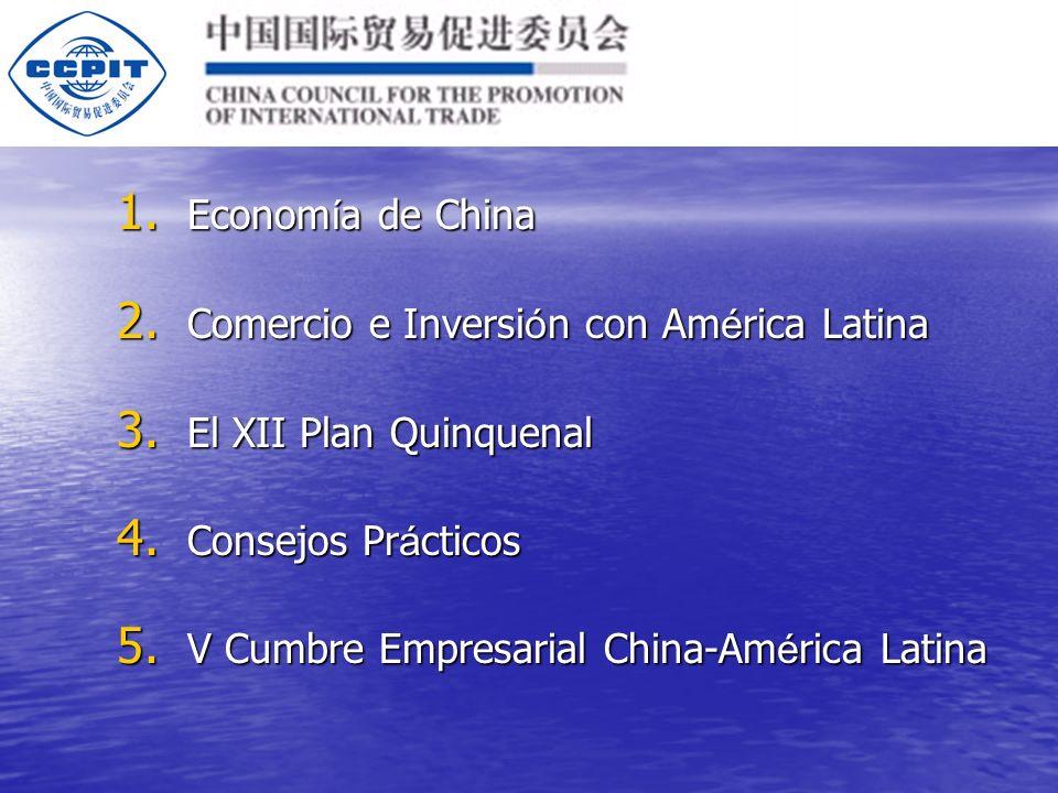 1.Econom í a de China 2. Comercio e Inversi ó n con Am é rica Latina 3.