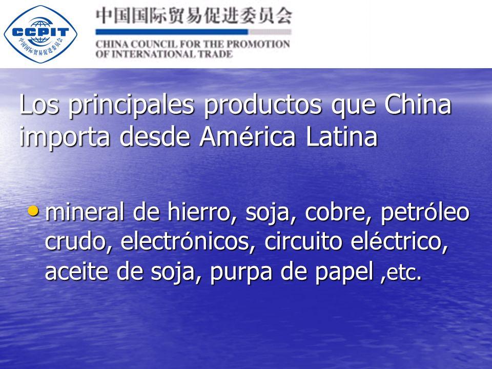 Los principales productos que China exporta hacia Am é rica Latina cumputadores y tecnolog í a de telecomunicaciones, confecciones, televisores, radio y repuestos de radiocomunicaci ó n, partes de computaci ó n, celurar, zapatos, motocicletas, aceite combustible, art í culos de viaje, bolsas y maletas,etc.