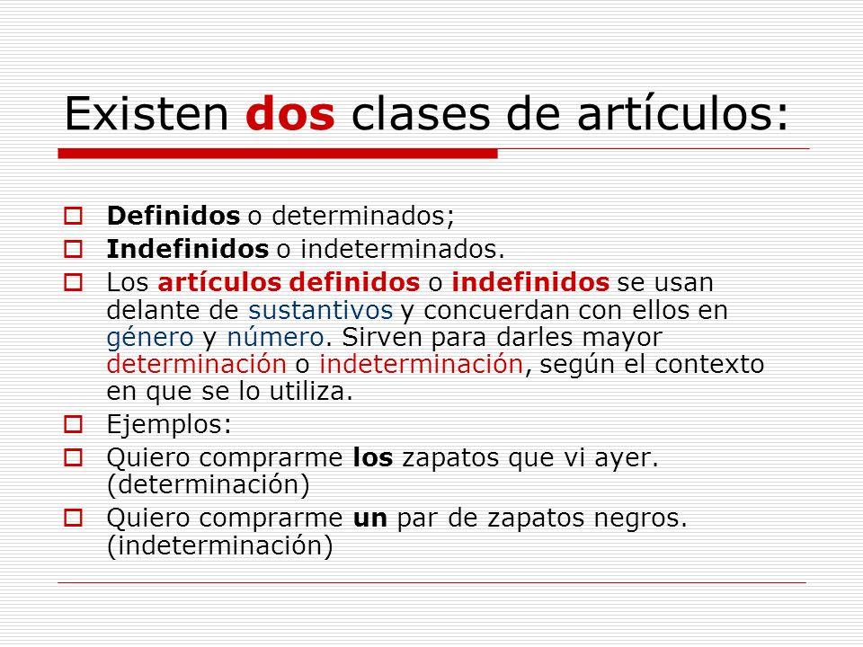 Existen dos clases de artículos: Definidos o determinados; Indefinidos o indeterminados. Los artículos definidos o indefinidos se usan delante de sust