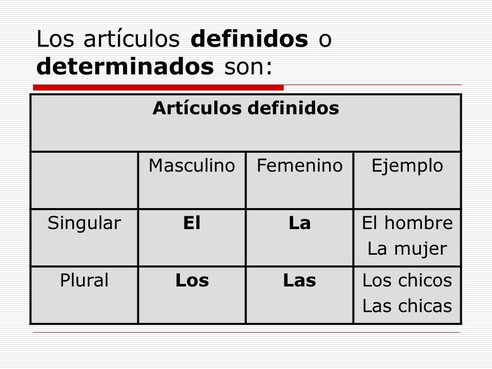 Los artículos definidos o determinados son: Artículos definidos MasculinoFemeninoEjemplo SingularElLaEl hombre La mujer PluralLosLasLos chicos Las chi