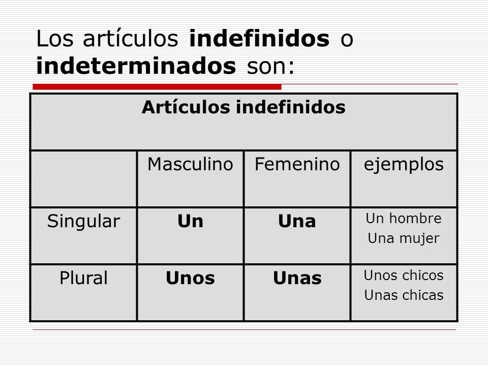 Los artículos indefinidos o indeterminados son: Artículos indefinidos MasculinoFemeninoejemplos SingularUnUna Un hombre Una mujer PluralUnosUnas Unos