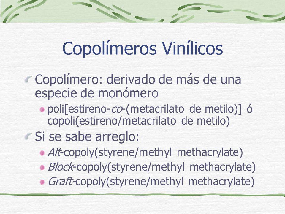 Copolímeros Vinílicos Copolímero: derivado de más de una especie de monómero poli[estireno-co-(metacrilato de metilo)] ó copoli(estireno/metacrilato d