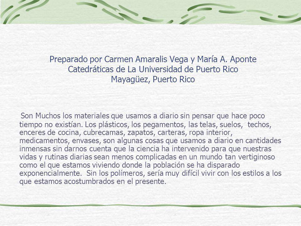 Preparado por Carmen Amaralis Vega y María A. Aponte Catedráticas de La Universidad de Puerto Rico Mayagüez, Puerto Rico Son Muchos los materiales que
