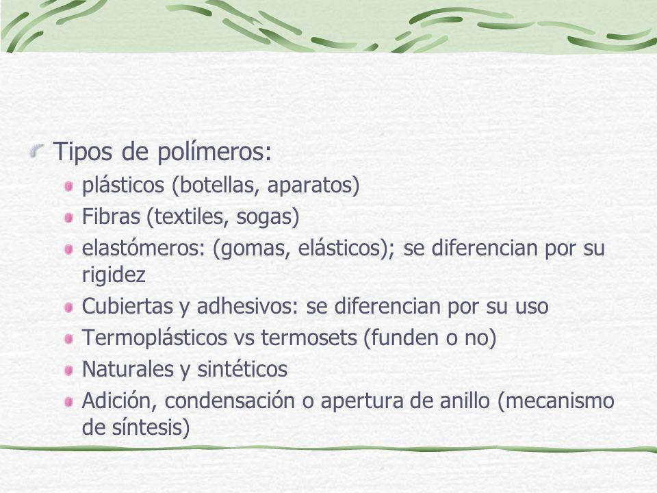 Tipos de polímeros: plásticos (botellas, aparatos) Fibras (textiles, sogas) elastómeros: (gomas, elásticos); se diferencian por su rigidez Cubiertas y