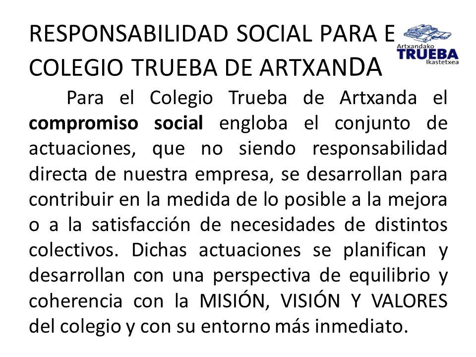 RESPONSABILIDAD SOCIAL PARA EL COLEGIO TRUEBA DE ARTXAN DA Para el Colegio Trueba de Artxanda el compromiso social engloba el conjunto de actuaciones,