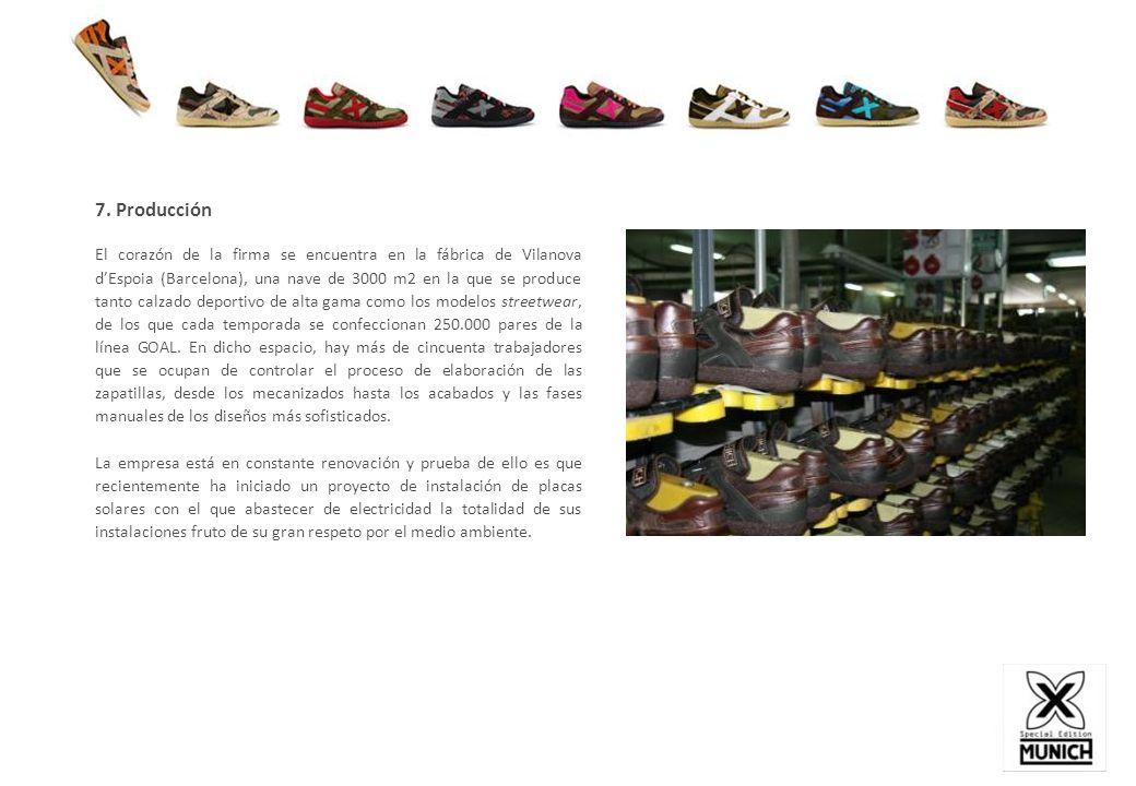 7. Producción El corazón de la firma se encuentra en la fábrica de Vilanova dEspoia (Barcelona), una nave de 3000 m2 en la que se produce tanto calzad