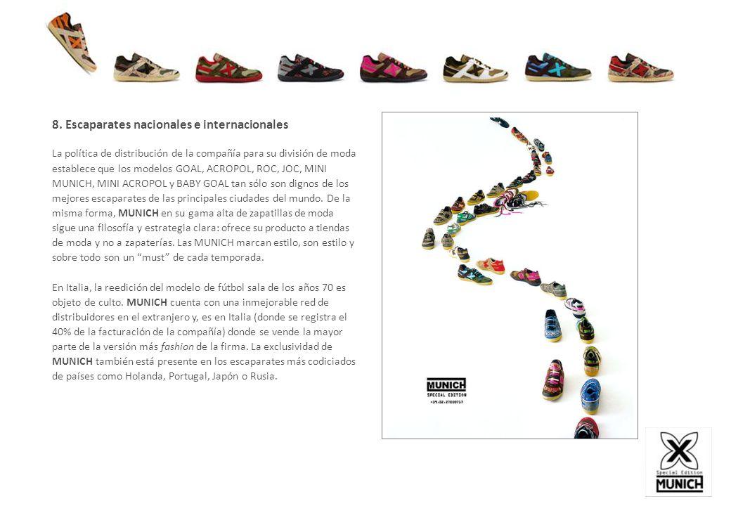 8. Escaparates nacionales e internacionales La política de distribución de la compañía para su división de moda establece que los modelos GOAL, ACROPO