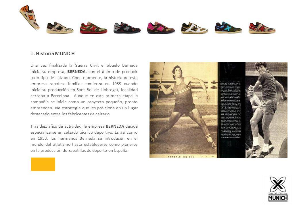 1. Historia MUNICH Una vez finalizada la Guerra Civil, el abuelo Berneda inicia su empresa, BERNEDA, con el ánimo de producir todo tipo de calzado. Co