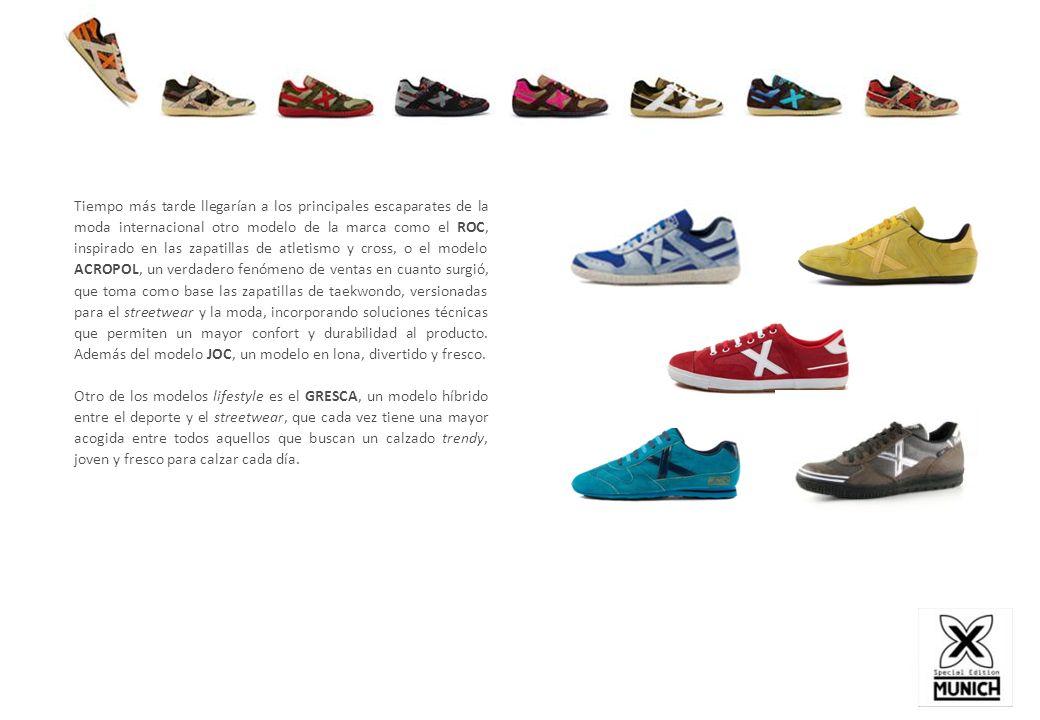 Tiempo más tarde llegarían a los principales escaparates de la moda internacional otro modelo de la marca como el ROC, inspirado en las zapatillas de