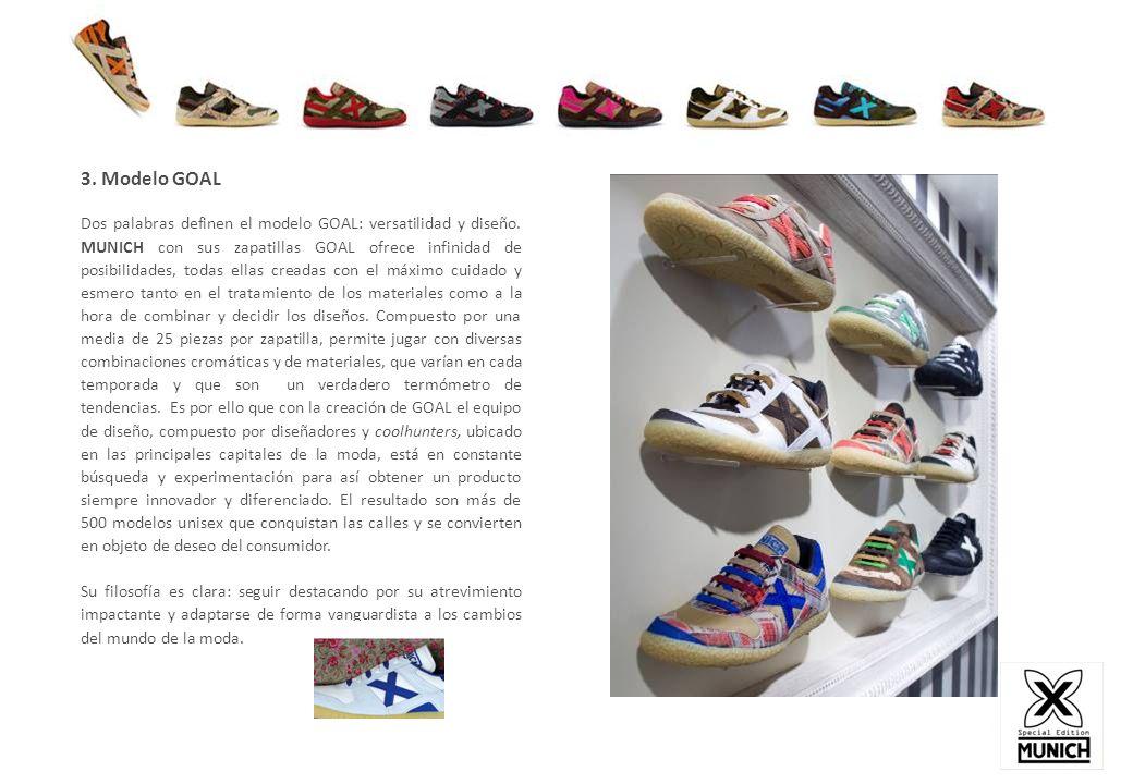3. Modelo GOAL Dos palabras definen el modelo GOAL: versatilidad y diseño. MUNICH con sus zapatillas GOAL ofrece infinidad de posibilidades, todas ell