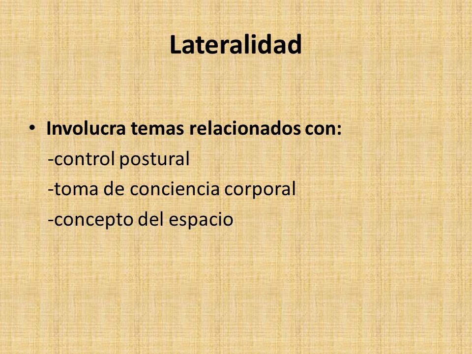 Lateralidad Involucra temas relacionados con: -control postural -toma de conciencia corporal -concepto del espacio
