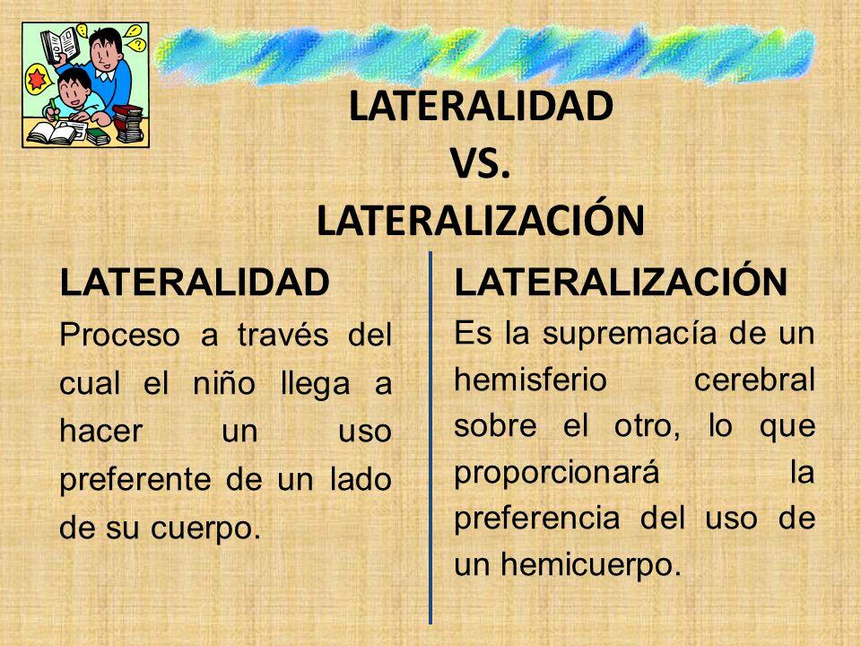 LATERALIDAD VS. LATERALIZACIÓN LATERALIDAD Proceso a través del cual el niño llega a hacer un uso preferente de un lado de su cuerpo. LATERALIZACIÓN E