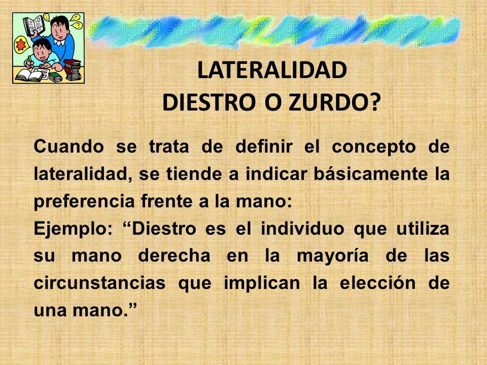LATERALIDAD DIESTRO O ZURDO.