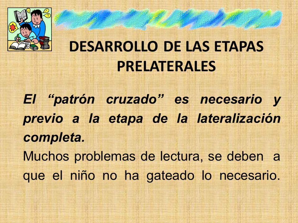 DESARROLLO DE LAS ETAPAS PRELATERALES El patrón cruzado es necesario y previo a la etapa de la lateralización completa. Muchos problemas de lectura, s