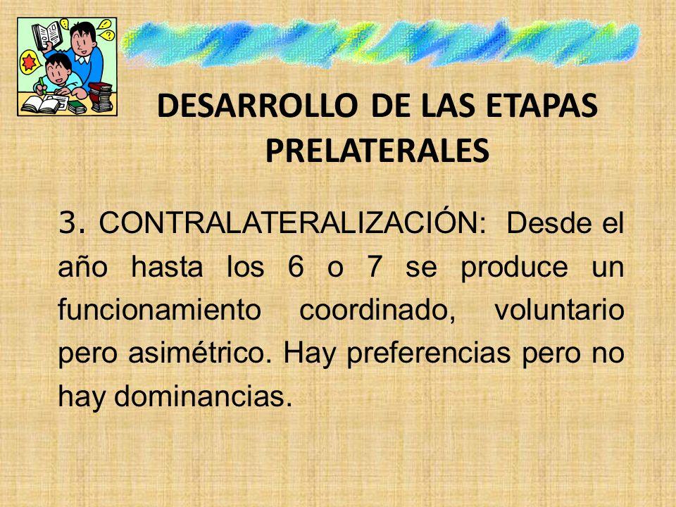 DESARROLLO DE LAS ETAPAS PRELATERALES 3. CONTRALATERALIZACIÓN: Desde el año hasta los 6 o 7 se produce un funcionamiento coordinado, voluntario pero a