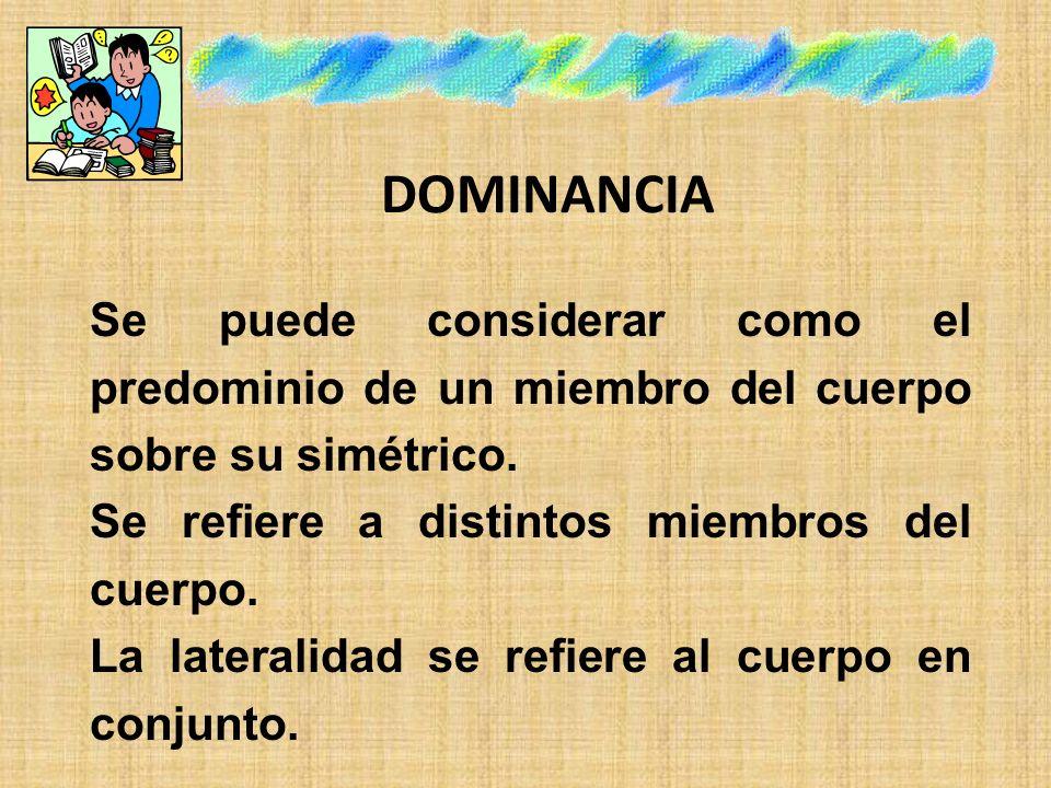 DOMINANCIA Se puede considerar como el predominio de un miembro del cuerpo sobre su simétrico. Se refiere a distintos miembros del cuerpo. La laterali