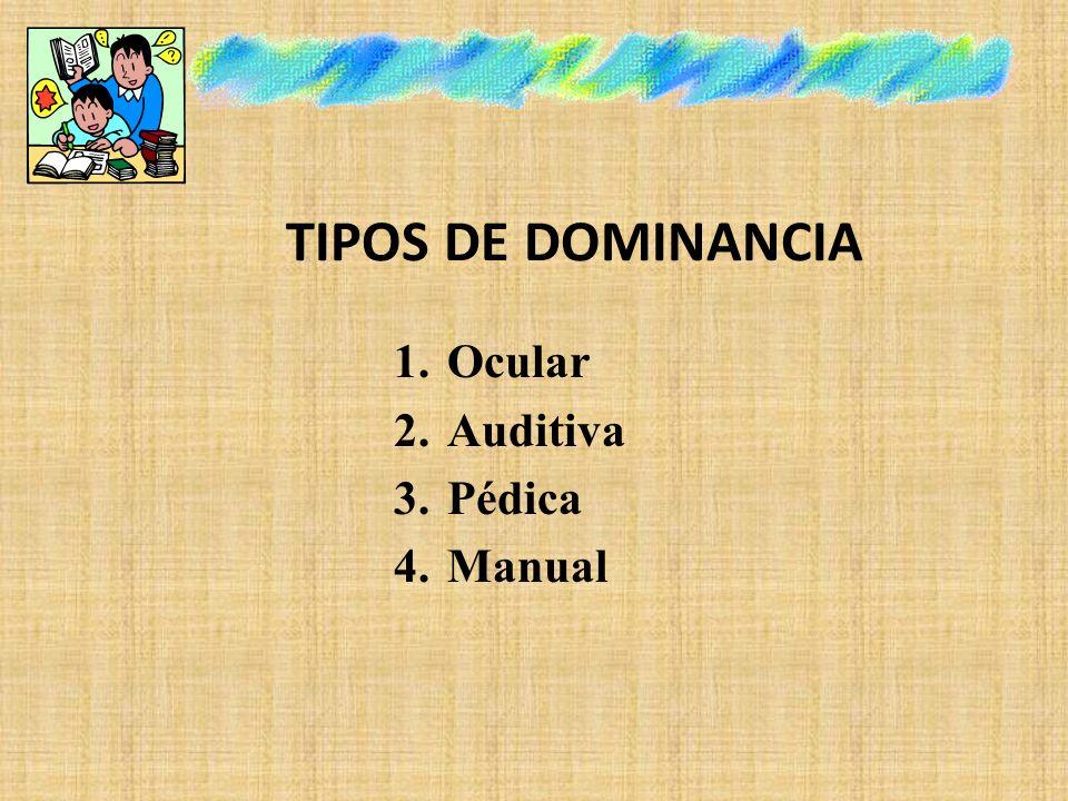 TIPOS DE DOMINANCIA 1.Ocular 2.Auditiva 3.Pédica 4.Manual