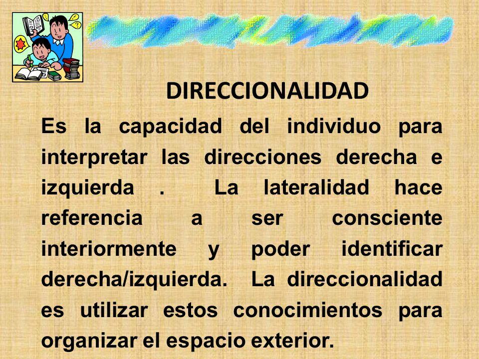 DIRECCIONALIDAD Es la capacidad del individuo para interpretar las direcciones derecha e izquierda. La lateralidad hace referencia a ser consciente in