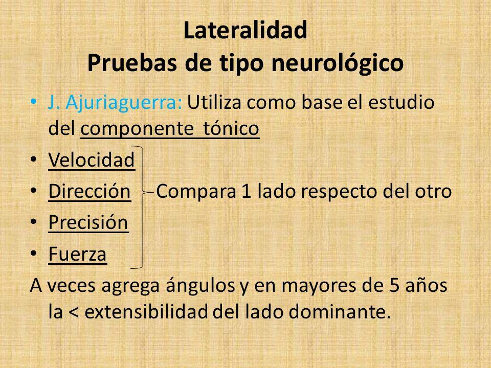 Lateralidad Pruebas de tipo neurológico J. Ajuriaguerra: Utiliza como base el estudio del componente tónico Velocidad Dirección Compara 1 lado respect