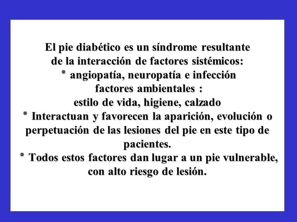 El pie diabético es un síndrome resultante de la interacción de factores sistémicos: ٭ angiopatía, neuropatía e infección factores ambientales : estil