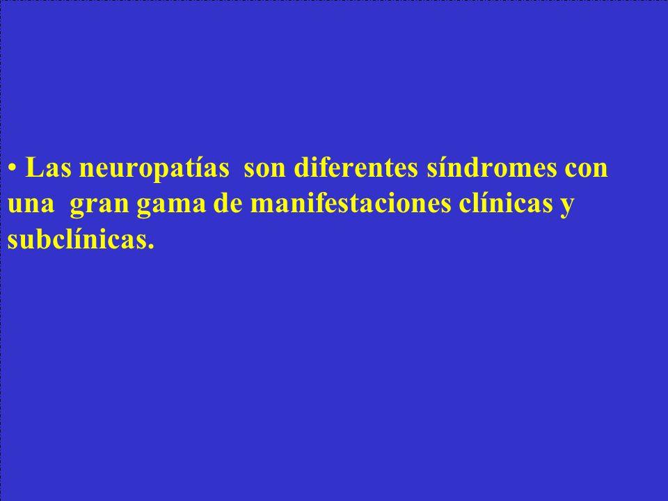 Las neuropatías son diferentes síndromes con una gran gama de manifestaciones clínicas y subclínicas.