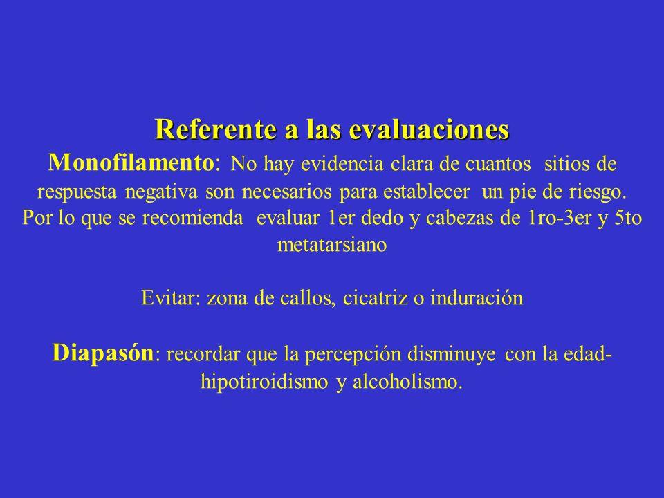 Referente a las evaluaciones Referente a las evaluaciones Monofilamento: No hay evidencia clara de cuantos sitios de respuesta negativa son necesarios