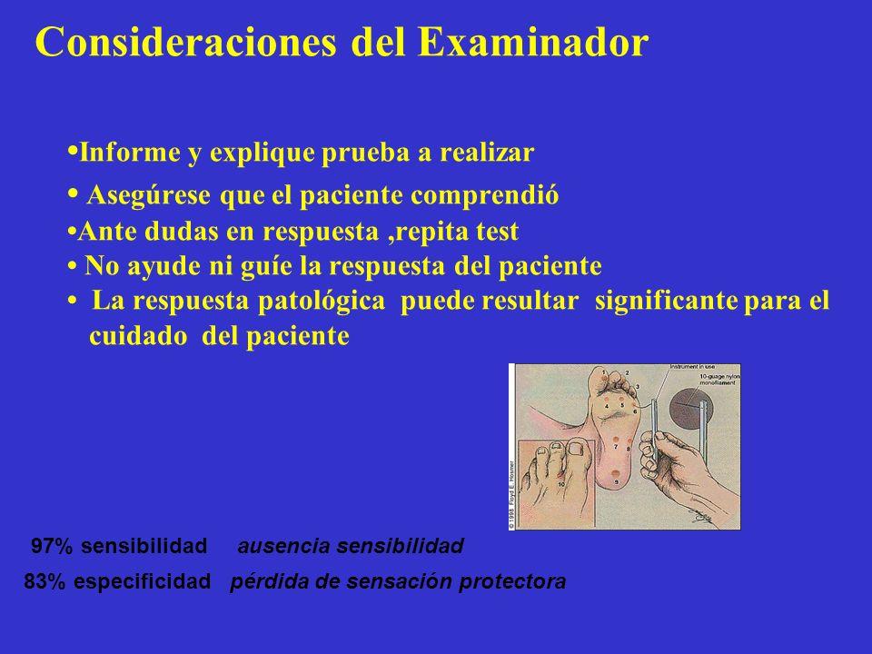 Consideraciones del Examinador Informe y explique prueba a realizar Asegúrese que el paciente comprendió Ante dudas en respuesta,repita test No ayude