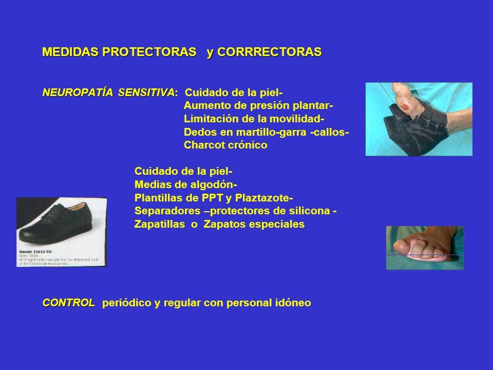 MEDIDAS PROTECTORAS y CORRRECTORAS NEUROPATÍA SENSITIVA CONTROL MEDIDAS PROTECTORAS y CORRRECTORAS NEUROPATÍA SENSITIVA: Cuidado de la piel- Aumento d