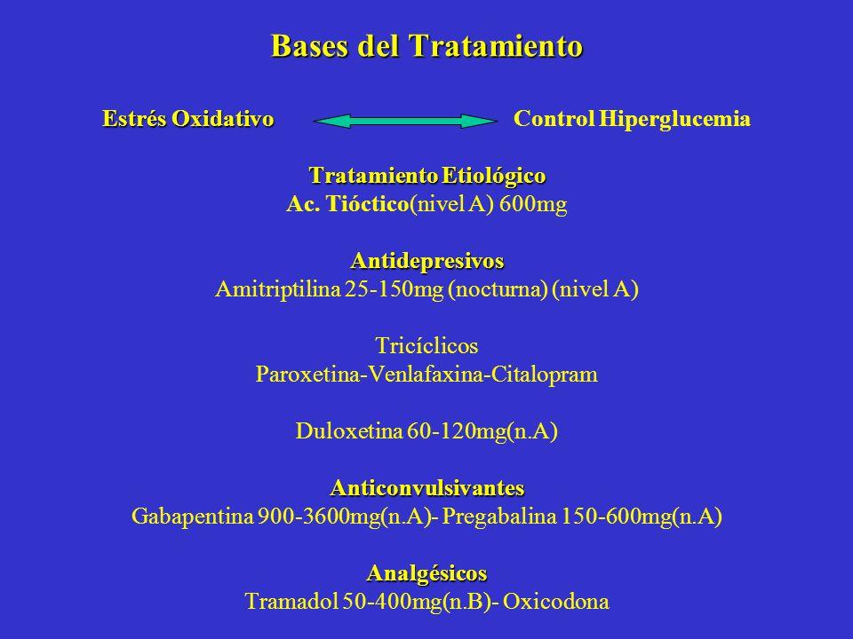 Bases del Tratamiento Estrés Oxidativo Tratamiento Etiológico Antidepresivos Anticonvulsivantes Analgésicos Bases del Tratamiento Estrés Oxidativo Con