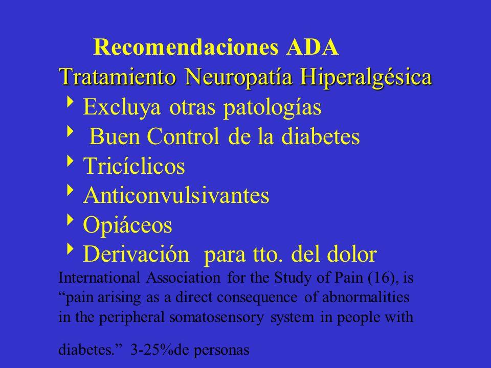 Tratamiento NeuropatíaHiperalgésica Recomendaciones ADA Tratamiento Neuropatía Hiperalgésica Excluya otras patologías Buen Control de la diabetes Tric