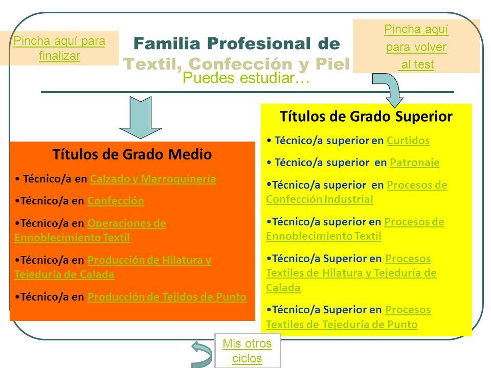 Familia Profesional de Textil, Confección y Piel Puedes estudiar… Títulos de Grado Medio Técnico/a en Calzado y MarroquineríaCalzado y Marroquinería T