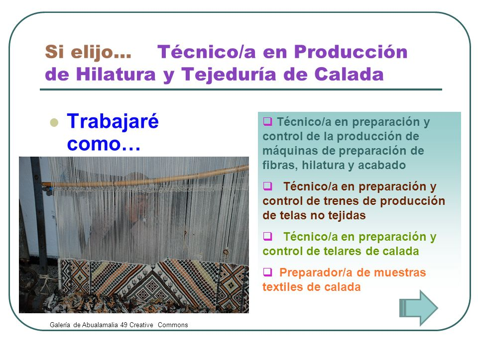 Si elijo… Técnico/a en Producción de Hilatura y Tejeduría de Calada Trabajaré como… Técnico/a en preparación y control de la producción de máquinas de