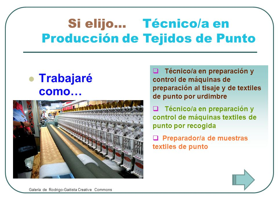 Trabajaré como… Técnico/a en preparación y control de máquinas de preparación al tisaje y de textiles de punto por urdimbre Técnico/a en preparación y