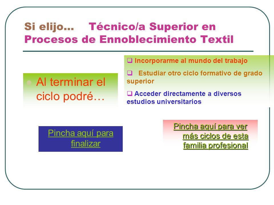 Si elijo… Técnico/a Superior en Procesos de Ennoblecimiento Textil Al terminar el ciclo podré… Incorporarme al mundo del trabajo Estudiar otro ciclo f