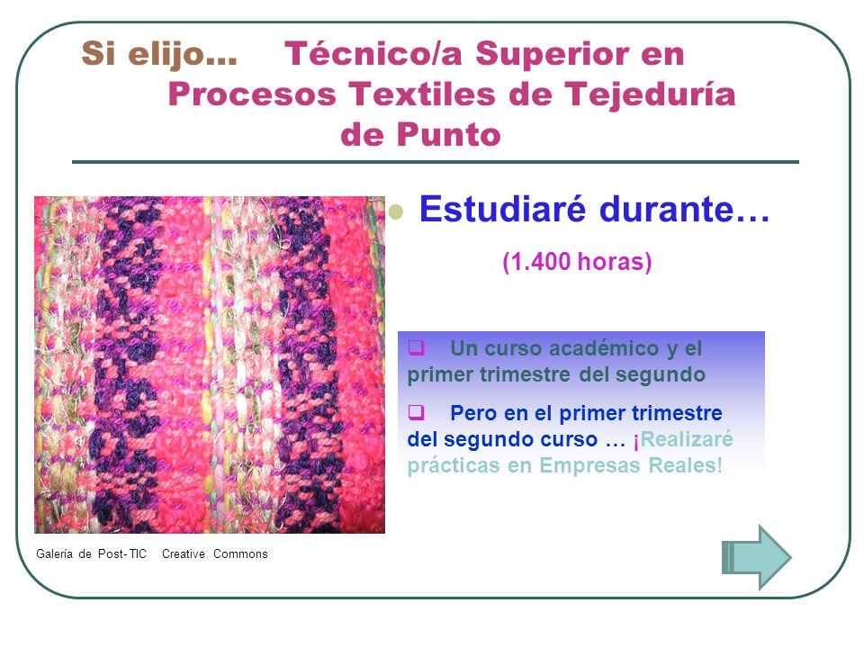 Si elijo… Técnico/a Superior en Procesos Textiles de Tejeduría de Punto Estudiaré durante… Un curso académico y el primer trimestre del segundo Pero e