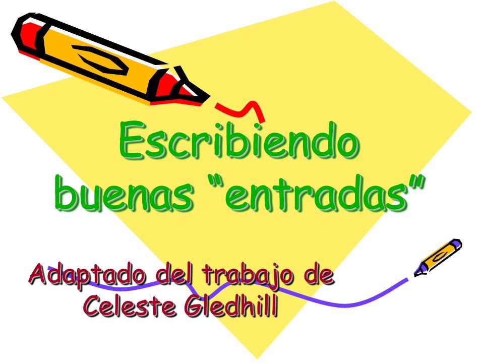 Escribiendo buenas entradas Adaptado del trabajo de Celeste Gledhill