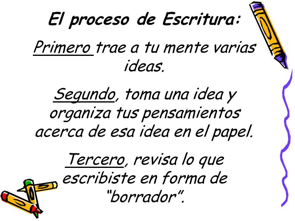 El proceso de Escritura: Primero trae a tu mente varias ideas. Segundo, toma una idea y organiza tus pensamientos acerca de esa idea en el papel. Terc