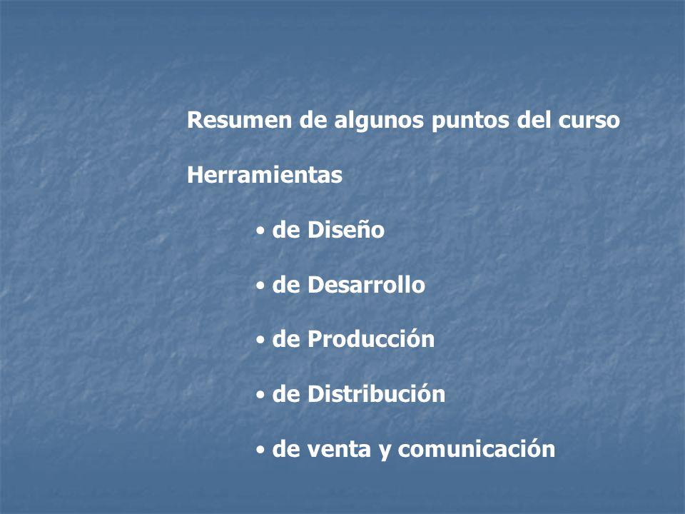 Resumen de algunos puntos del curso Herramientas de Diseño de Desarrollo de Producción de Distribución de venta y comunicación