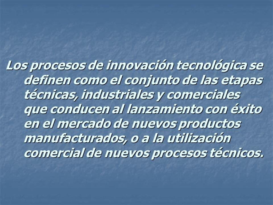 Los procesos de innovación tecnológica se definen como el conjunto de las etapas técnicas, industriales y comerciales que conducen al lanzamiento con