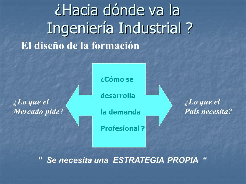 ¿Lo que el Mercado pide? ¿Lo que el País necesita? ¿Cómo se desarrolla la demanda Profesional ? Se necesita una ESTRATEGIA PROPIA El diseño de la form