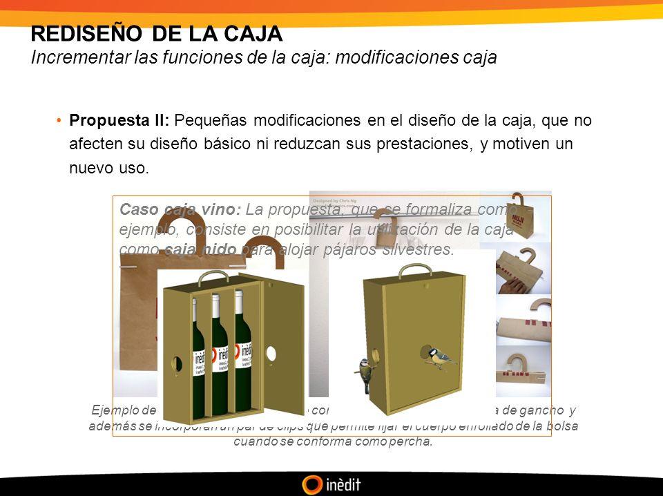 REDISEÑO DE LA CAJA Incrementar las funciones de la caja: modificaciones caja Propuesta II: Pequeñas modificaciones en el diseño de la caja, que no afecten su diseño básico ni reduzcan sus prestaciones, y motiven un nuevo uso.