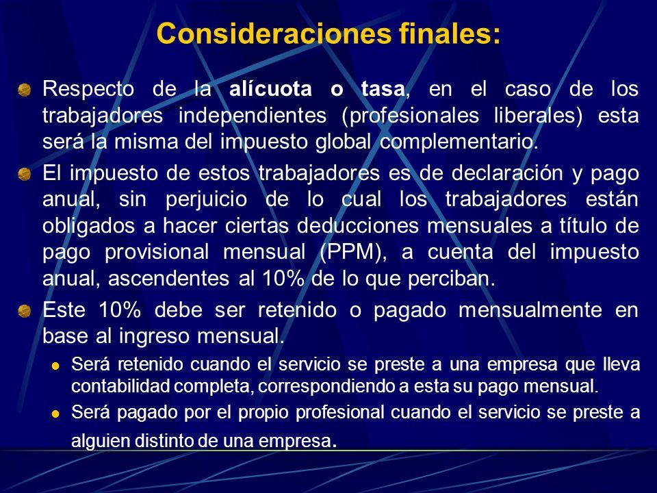 Consideraciones finales: Respecto de la alícuota o tasa, en el caso de los trabajadores independientes (profesionales liberales) esta será la misma de