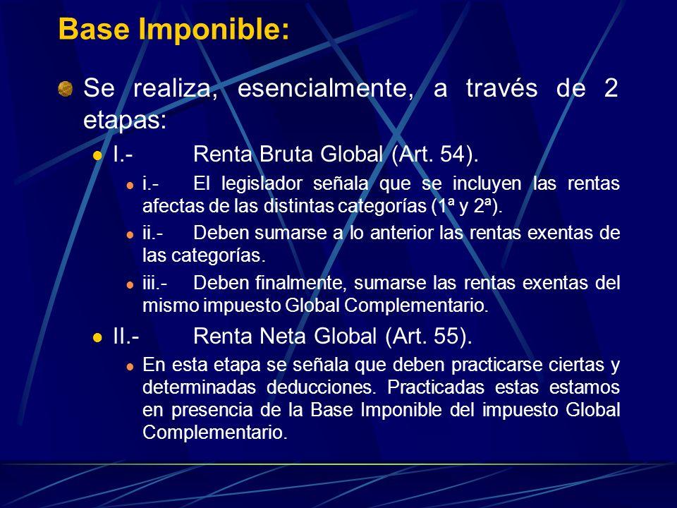 Base Imponible: Se realiza, esencialmente, a través de 2 etapas: I.-Renta Bruta Global (Art. 54). i.-El legislador señala que se incluyen las rentas a
